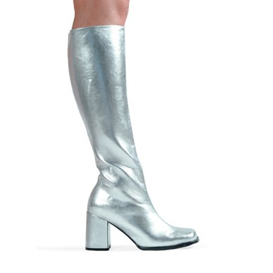 Silver Knee High Boots - Go Go