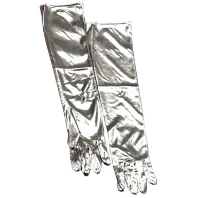 Silver Lame Gloves Halloween Costumes Accessories