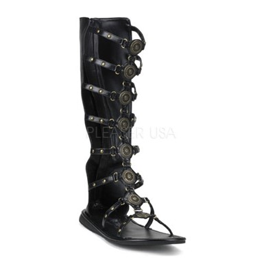 Tall Roman Warrior Sandals - Black