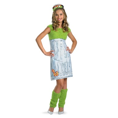 Tween Girls Oscar The Grouch Costume