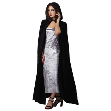 Velvet Hooded Cape - Pleated Black