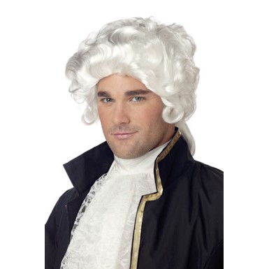 White Colonial Man Wig for Adult Halloween Costume