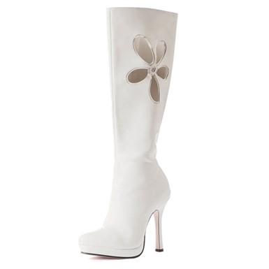White Go Go Boots - Love Child Daisy Detail