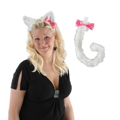White Kitty Tail And Ears Kit