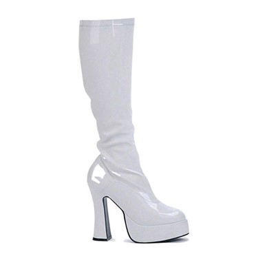 White Platform Knee High Boots