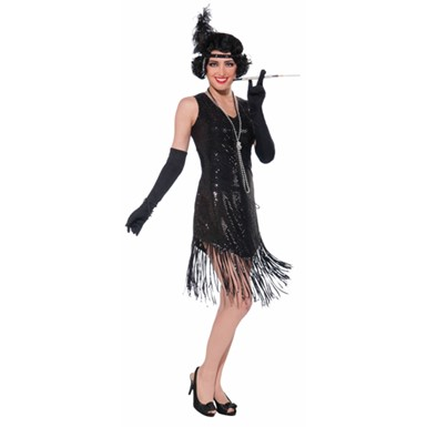 Womens Black Sequined Flapper Halloween Costume Size Standard
