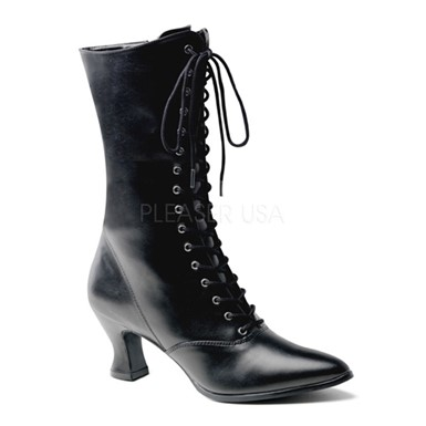 Womens Black Victorian Boots - Steampunk