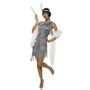 Womens Flapper Costume - Dazzling Dark Grey