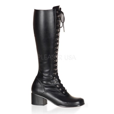 Womens Flat Black Lace Up Boots - Retro