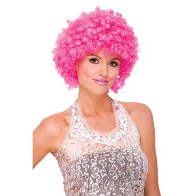 Womens Glitter Afro Wig - Pink