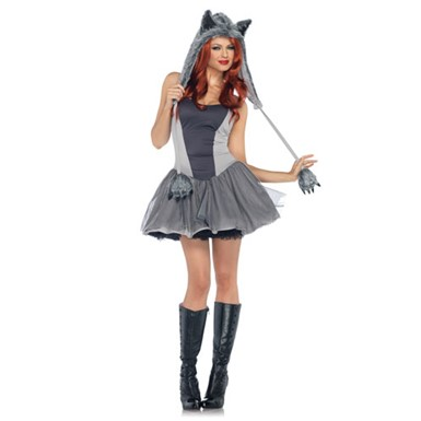Womens Gorgeous Grey Wolf Costume