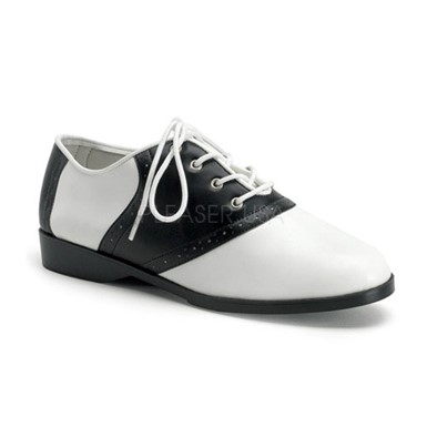 Womens Halloween Flat Black And White Saddle Shoes
