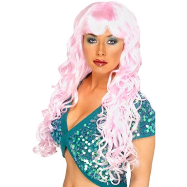 Womens Long Curly Pink Glamour Siren Wig