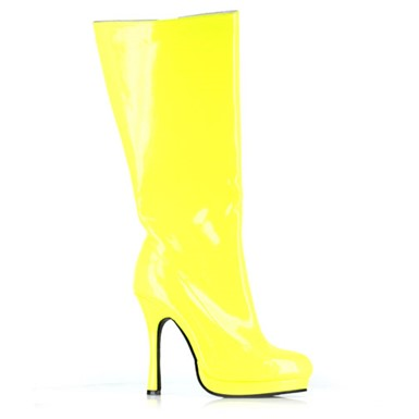 Womens Neon Knee High Boot - Yellow Footwear Accessory