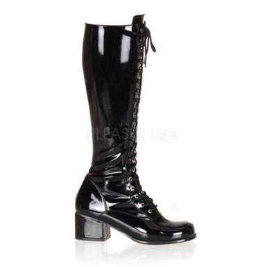 Womens Patent Black Lace Up Boots - Retro