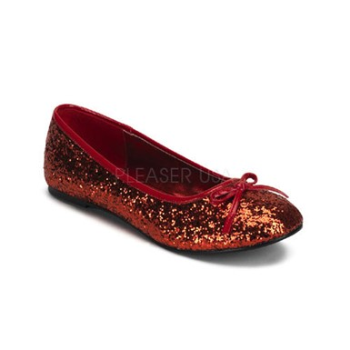 Womens Red Glitter Flats - Star