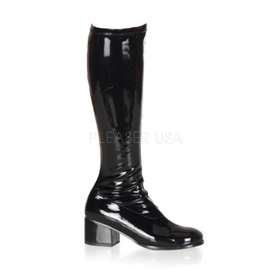 Womens Sexy Black Patent Boots - Retro