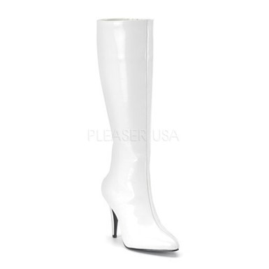Womens Sexy White High Heeled Boots - Lust