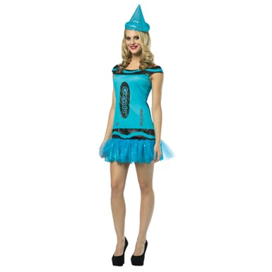 Womens Steel Blue Glitter Dress Costume - Crayola