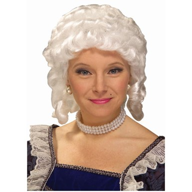 Womens White Colonial Wig Historical Costume Accessory