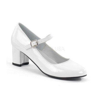 Womens White Patent Shoes - School Girl