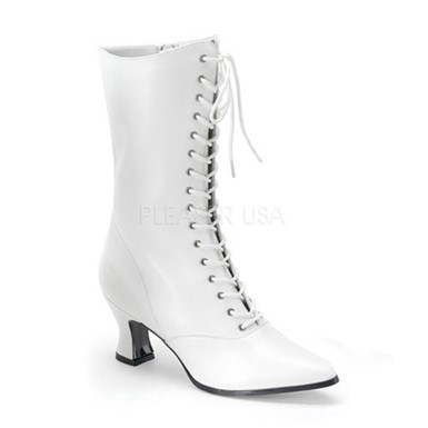 Womens White Victorian Boots - Steampunk