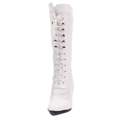 Womens Zip Knee High Boots - White