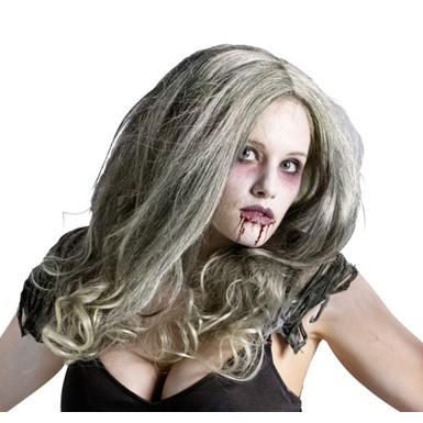 Womens Zombie Undead Horror Halloween Wig - Grey