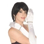 Long White Satin Gloves - with Rhinestones