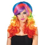 Rainbow Rocker Colorful Halloween Costume Wig