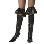Womens Pirate Boot Covers - Black and Gold