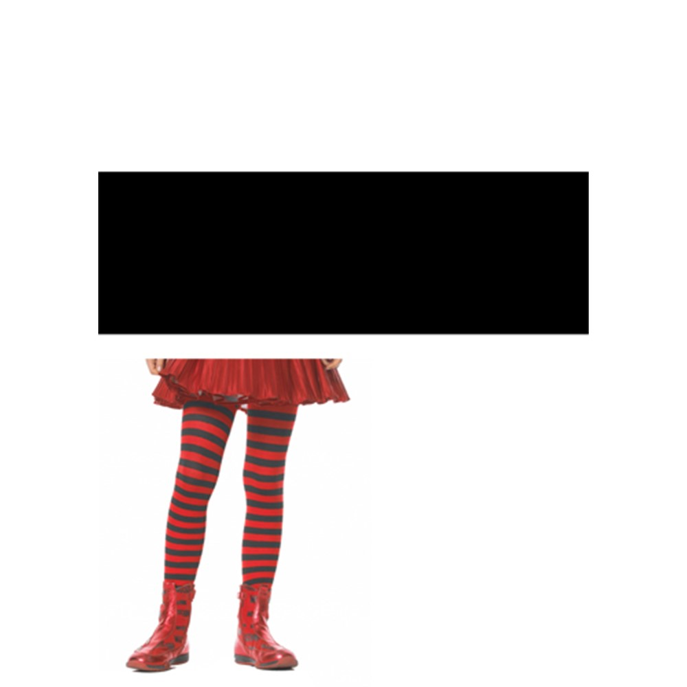 Look at you in those striped tights! Black and Red Striped Kid Stockings are a perfect addition to almost any costume. These funky tights come in many colors such as Black/White, Black/Purple, Black/Red, Black/Yellow, Black/Orange, and even White/Kelly Green. You can mix and match outfits this Halloween and stand out the best. Go wild and wear these tights with a skirt and fun shoes. You can be as free-spirited as Punky Brewster was in her crazy outfits, when you wear these stockings. The funkier you look in these  Black and Red Striped Kid Stockings, the more fun you will have!