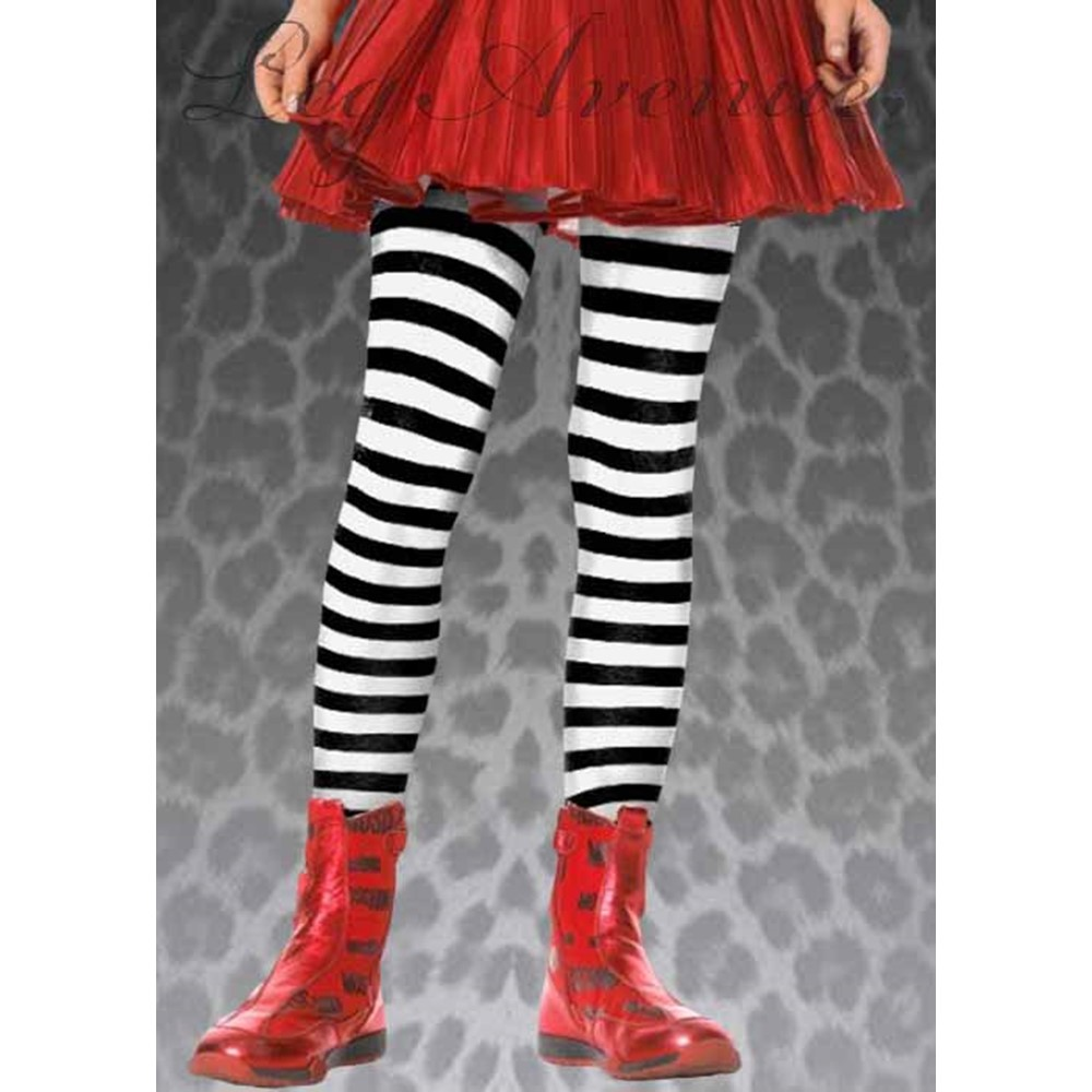 Look at you in those striped tights! Black And White Striped Kids Stockings are a perfect addition to almost any costume. These funky tights come in many colors such as Black/White, Black/Purple, Black/Red, Black/Yellow, Black/Orange, and even White/Kelly Green. You can mix and match outfits this Halloween and stand out the best. Go wild and wear these tights with a skirt and fun shoes. You can be as free-spirited as Punky Brewster was in her crazy outfits, when you wear these stockings. The funkier you look in these  Black And White Striped Kids Stockings , the more fun you will have!