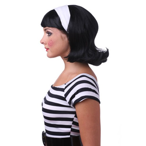 Don't flip out, it's the Black 50's Flip Wig! This blast from the past is the perfect accessory for costumes such as: A biker, a road hog, a greaser, a moll, a teenage ingnue, or anything else. Really, when you're equipped with an item as elegant as this you'd be hard pressed to find a costume that doesn't go with it! When it comes to retro-chic there are few better accessories than the Black 50's Flip Wig! You'll pine for those summer nights with this wig on your head!