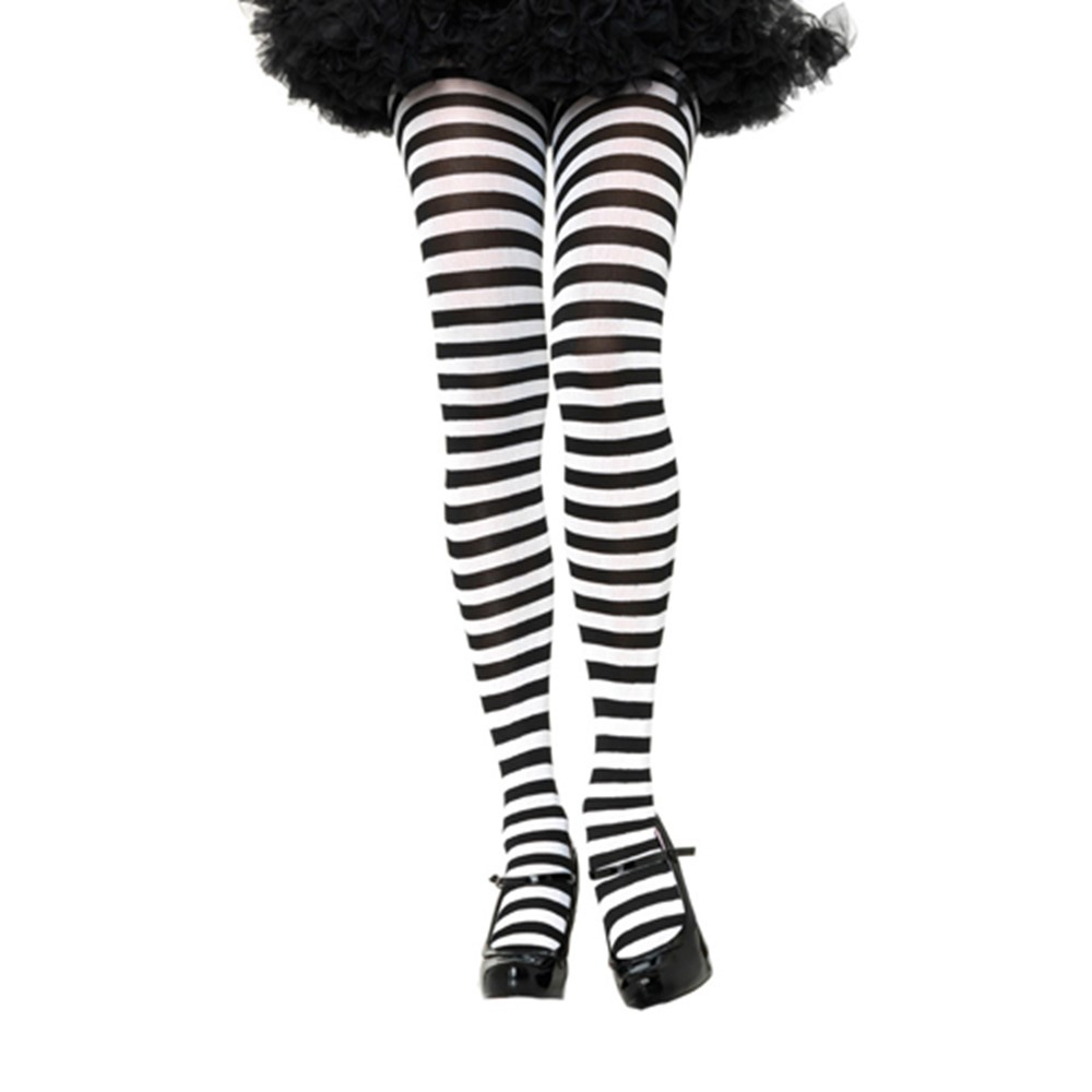 Every woman needs a pair of tights! These Black and White Plus Size Striped Tights add an extra bit of originality and boldness to every costume. These are Black and White Striped Tights that keep your legs covered, so mens' imaginations may run a little haywire. Add a unique touch to any mystical costume you desire. These Plus Size Striped Tights are a great accessory for every woman to own. You are sure to make a statement, unlike anyone has ever known, when you make your entrance into any room!