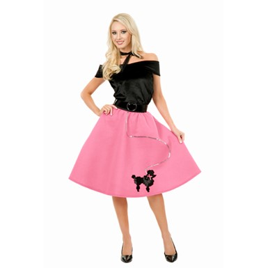 50s Pink Poodle Skirt Costume - Fuschia Mini Adult Plus Size