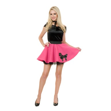 50s Poodle Skirt Costume - Fuschia Mini Adult