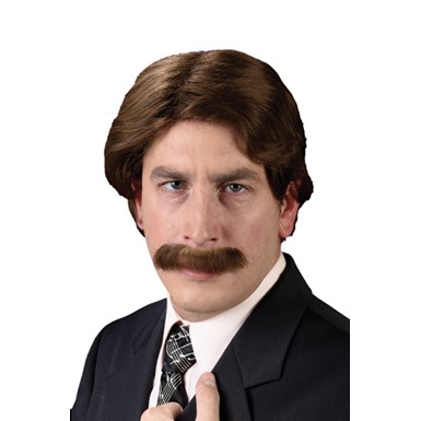 70's Man Wig & Mustache for Halloween Costume