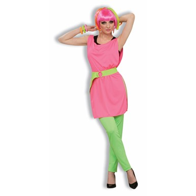 80's Neon Pink Tunic for Womens Halloween Costume
