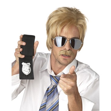 Ace Detective Blonde Wig And Mustache