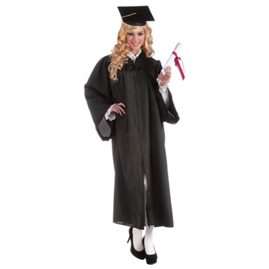 Adult Black Graduation Robe Costume up to 42