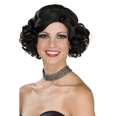 Adult Black Wig for Flapper Halloween Costume