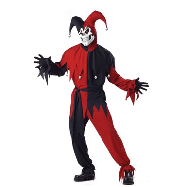 Adult Black/Red Evil Jester Halloween Costume