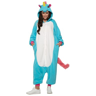 Adult Blue Unicorn Jumpsuit Halloween Costume