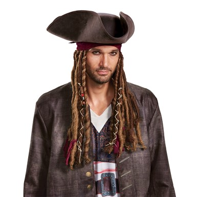 Adult Captain Jack Hat, Bandana & Dreads Wig