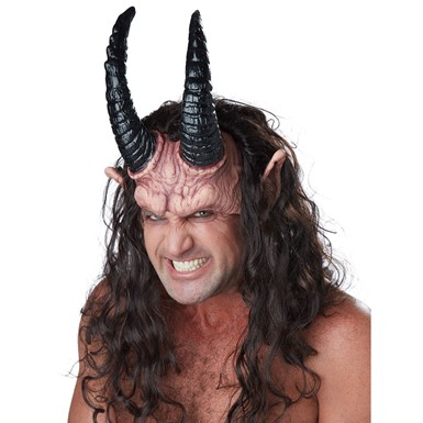 Adult Devious Demon Half Halloween Mask with Hair