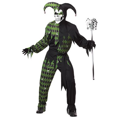 Adult Green And Black Evil Jester Mens Costume
