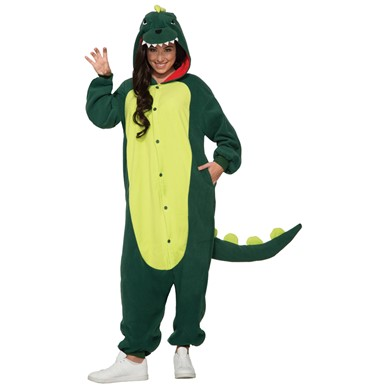 Adult Green Dinosaur Jumpsuit Halloween Costume