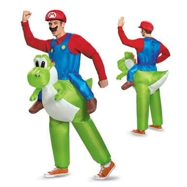 Adult Mario Riding Yoshi Inflatable Costume