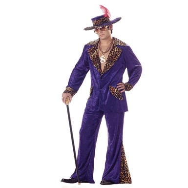 Adult Mens Purple Pimp Cheetah Halloween Costume